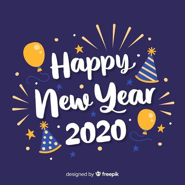 風船で幸せな新年2020をレタリング 無料ベクター