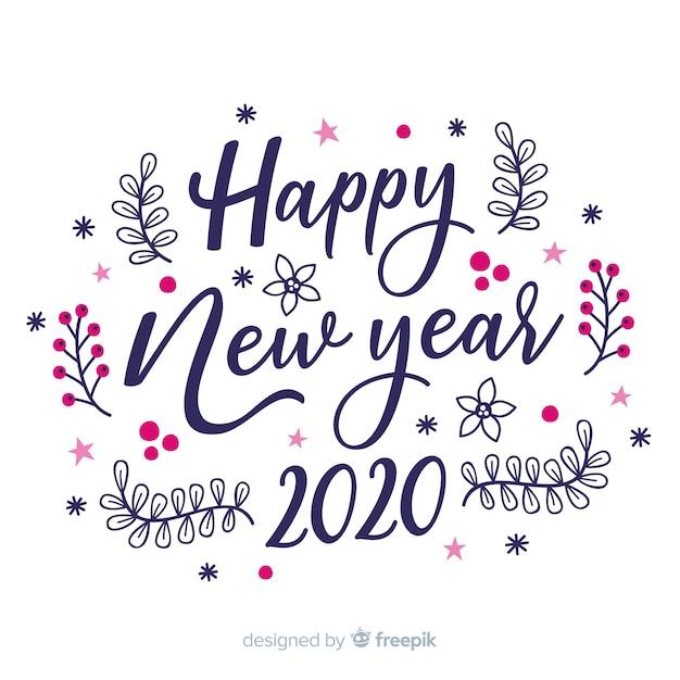 白い背景の幸せな新年2020をレタリング 無料ベクター