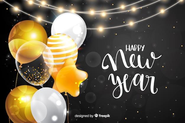С новым годом 2020 с воздушными шарами Бесплатные векторы