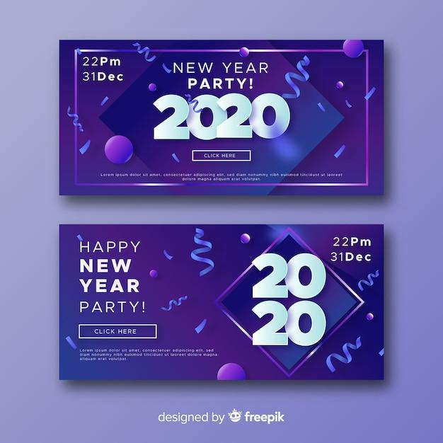 Абстрактные новогодние баннеры 2020 года и конфетти Бесплатные векторы