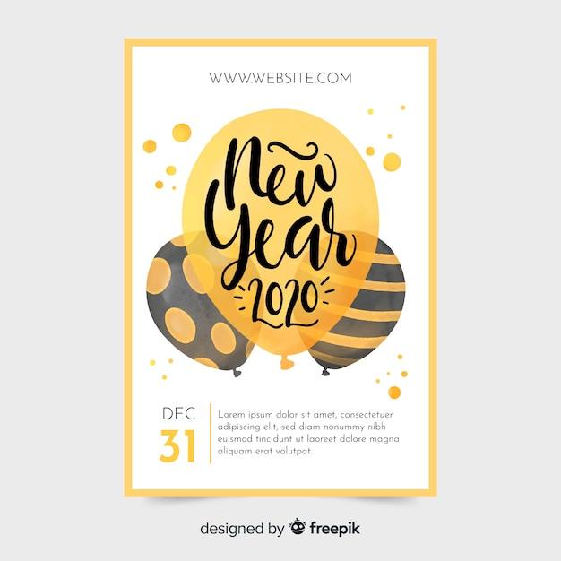 Шаблон плаката партии акварель новый год 2020 Бесплатные векторы