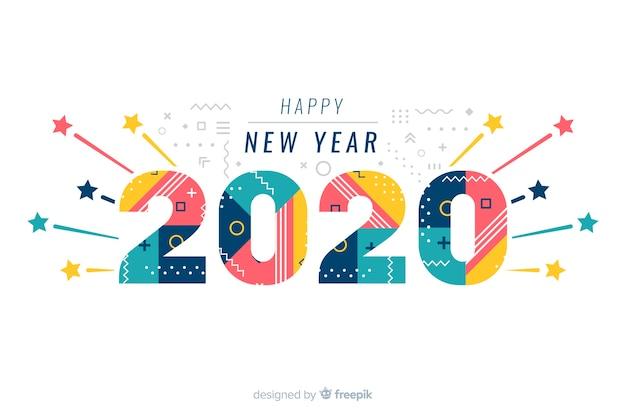 白い背景の上の幸せな新年2020 無料ベクター