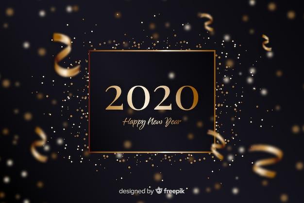Золотой новый год 2020 с конфетти Бесплатные векторы