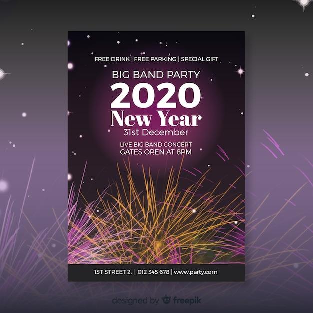 Новый год 2020 флаер с фейерверком Бесплатные векторы