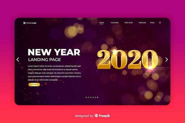 Новый год 2020 целевой страницы размытым фоном Бесплатные векторы