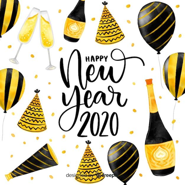 風船で水彩新年2020 無料ベクター