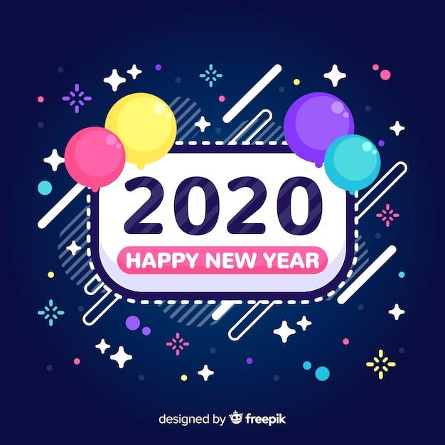 Новый год 2020 в плоском дизайне с воздушными шарами Бесплатные векторы
