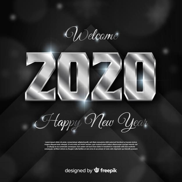Серебряный новогодний фон 2020 Бесплатные векторы