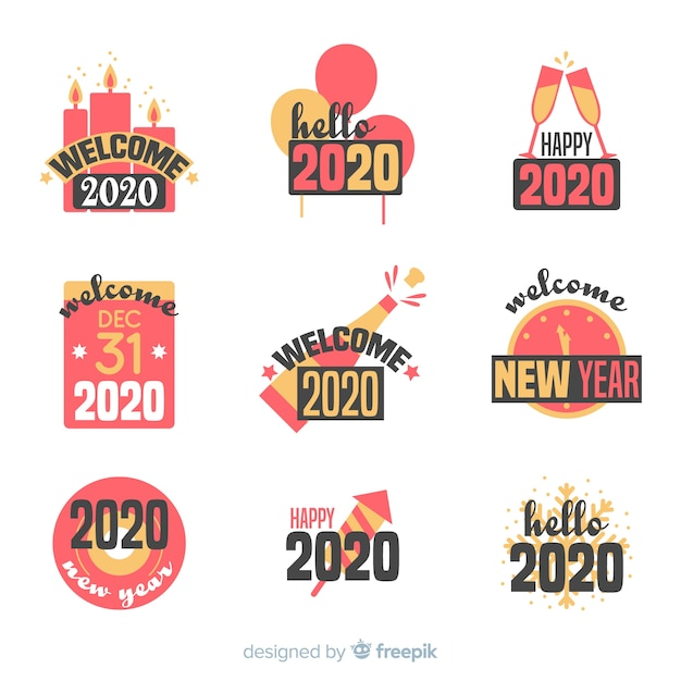 フラット新年2020バッジコレクション 無料ベクター