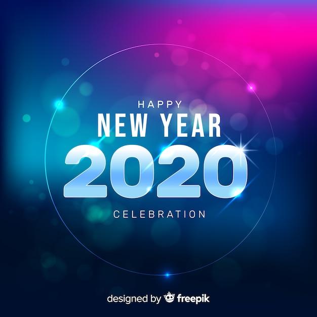 Затуманенное новый 2020 год на синем градиенте Бесплатные векторы