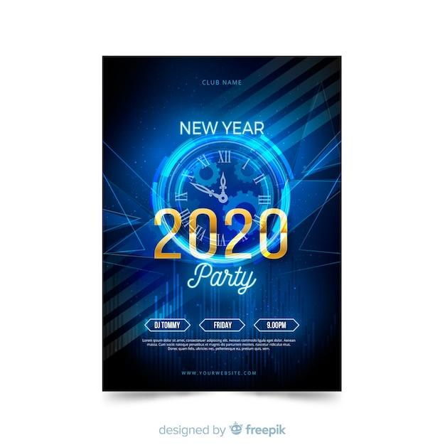 Шаблон плаката вечеринка новый год 2020 Бесплатные векторы