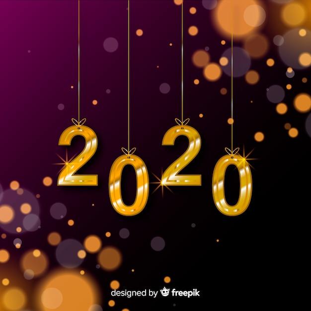ぼやけた新年2020 無料ベクター