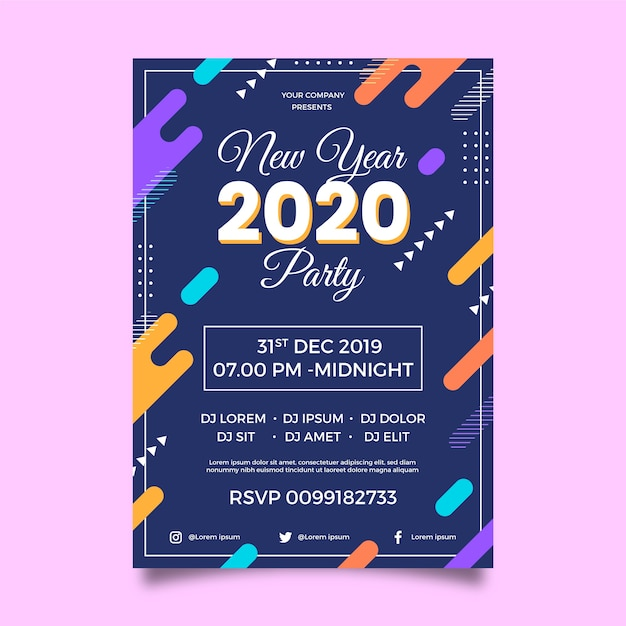 Плоский дизайн шаблона плаката партии новый год 2020 Бесплатные векторы