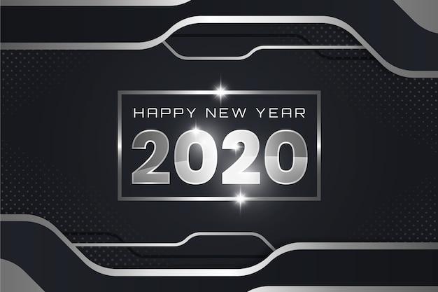シルバー新年2020年の背景 無料ベクター