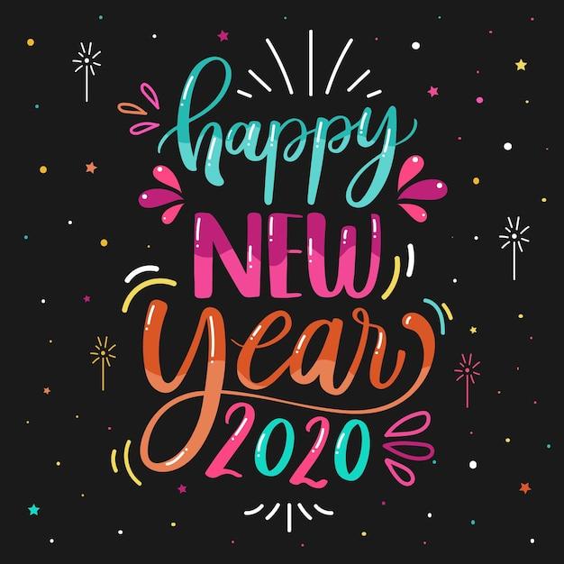 Надпись с новым годом 2020 Бесплатные векторы