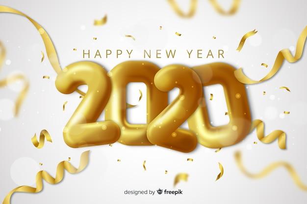 Реалистичный дизайн для нового года 2020 Бесплатные векторы