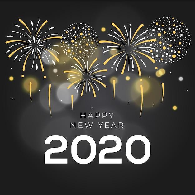 花火新年2020 無料ベクター