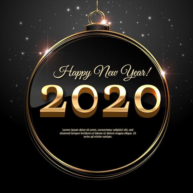 クリスマスボールの黄金の新年2020 無料ベクター