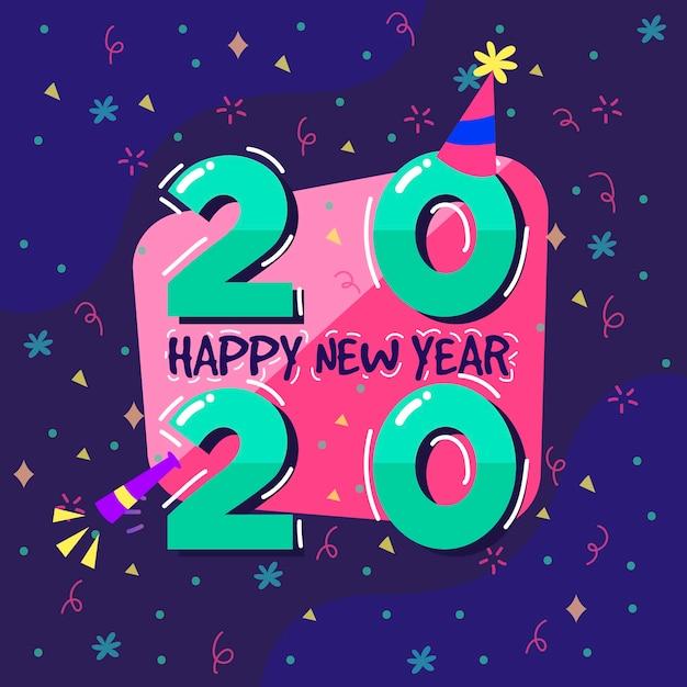 Ручной обращается новый год 2020 фон Бесплатные векторы