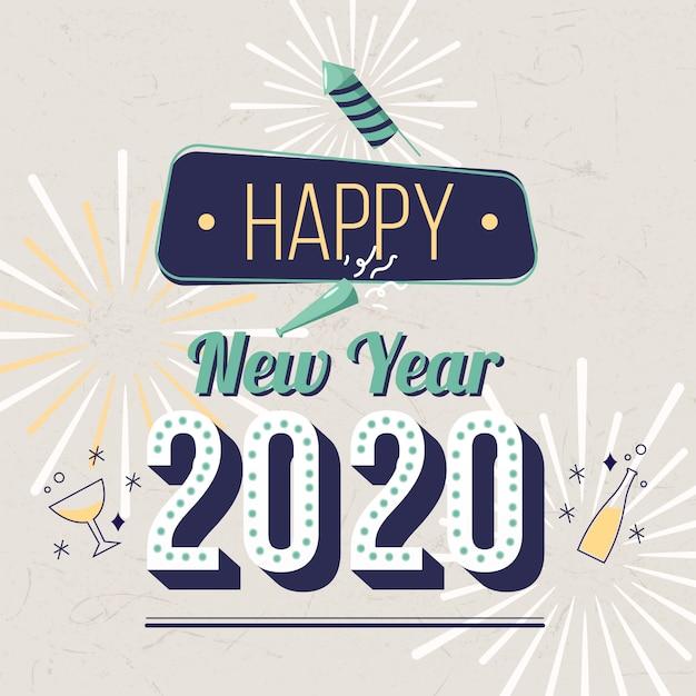 Винтаж новый год 2020 фон Бесплатные векторы