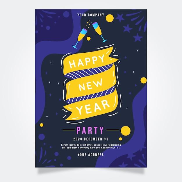 Ручной обращается шаблон плаката партии новый год 2020 Бесплатные векторы