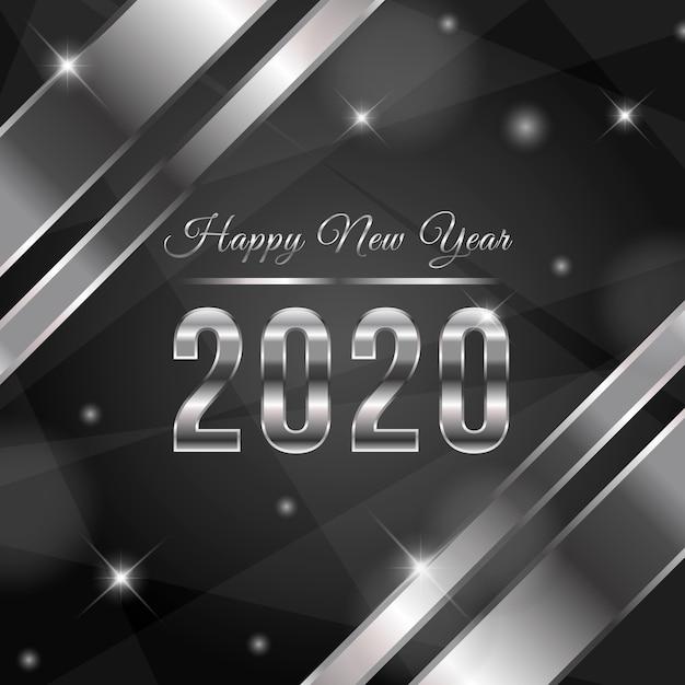 銀の新しい年2020年の背景 無料ベクター