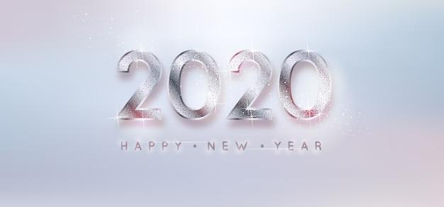 シルバーバックグラウンド新年2020 無料ベクター