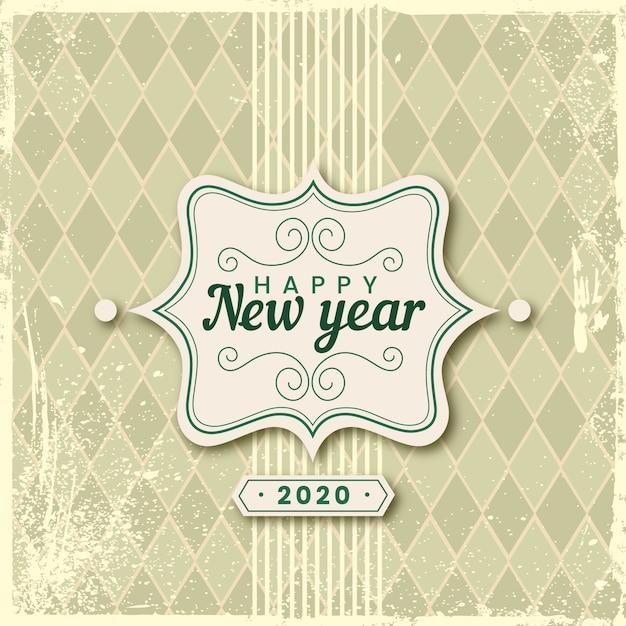Винтаж новый год 2020 Бесплатные векторы