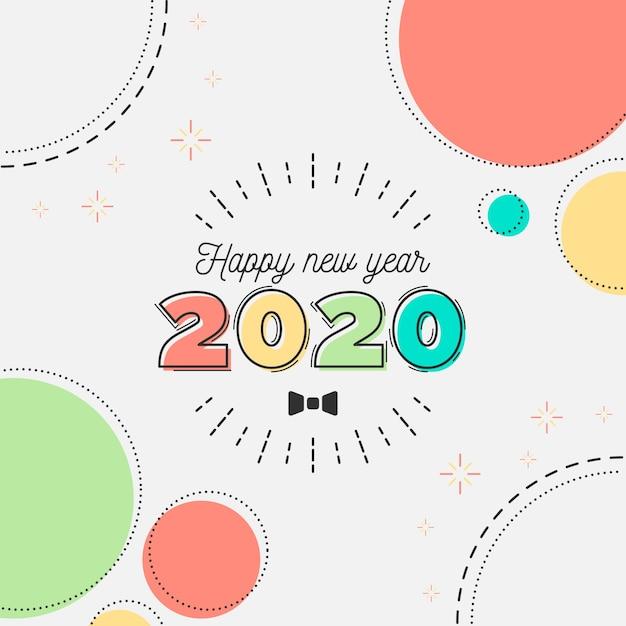 Плоский дизайн новый год 2020 фон Бесплатные векторы