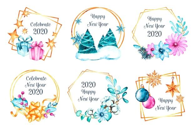 水彩新年2020バッジコレクション 無料ベクター