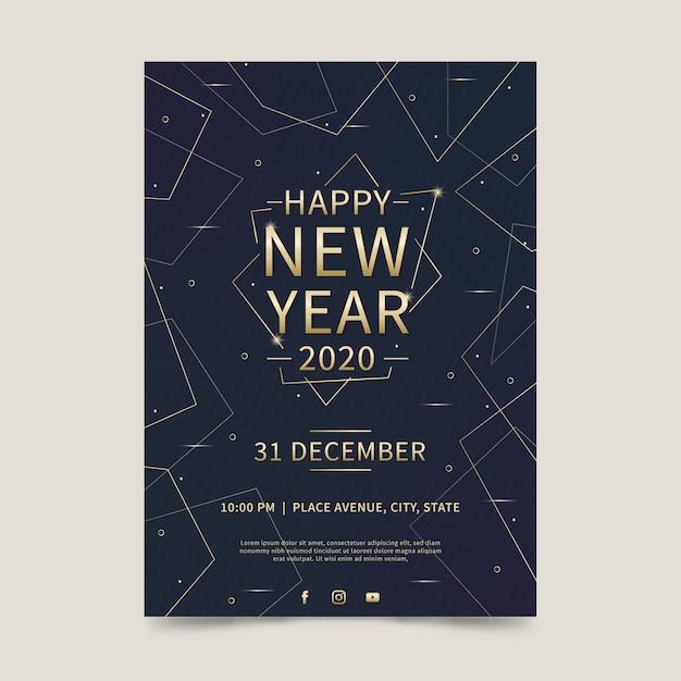 Плоский дизайн новый год 2020 года флаер шаблон Бесплатные векторы