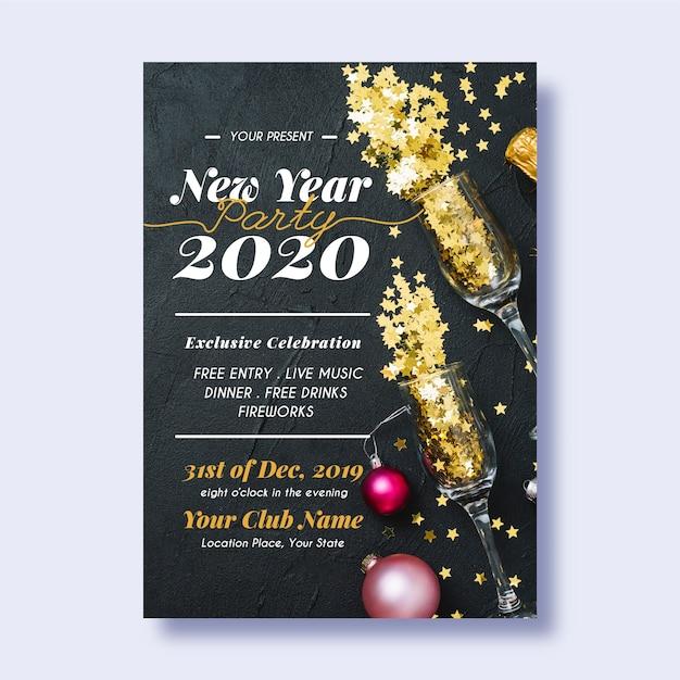 写真と新年2020パーティーポスターテンプレート 無料ベクター