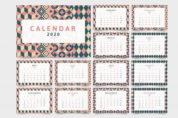 パターンと新年2020カレンダー 無料ベクター