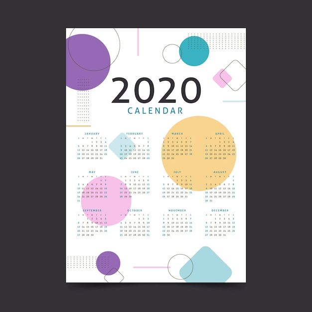 抽象的な新年2020年カレンダーテンプレート 無料ベクター
