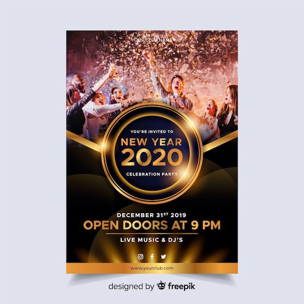 Шаблон постера вечеринка новый год 2020 с фото Бесплатные векторы