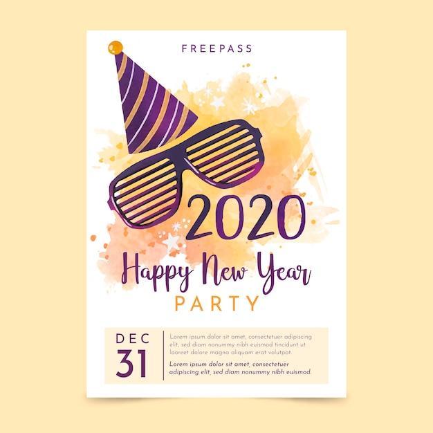 Шаблон флаера / плаката для вечеринки акварель новый год 2020 Бесплатные векторы