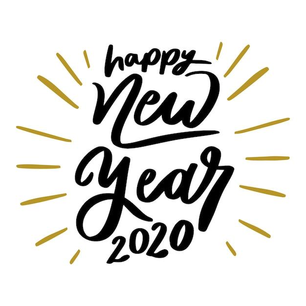 Красивая надпись с новым годом 2020 Бесплатные векторы