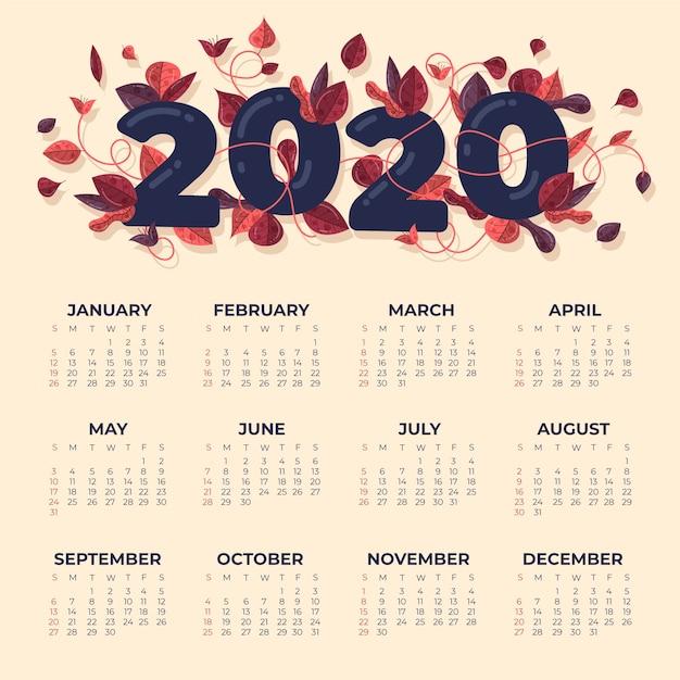 Шаблон календаря 2020 года Бесплатные векторы