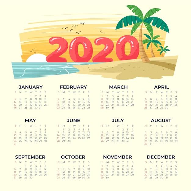ビーチ2020カレンダーテンプレート 無料ベクター