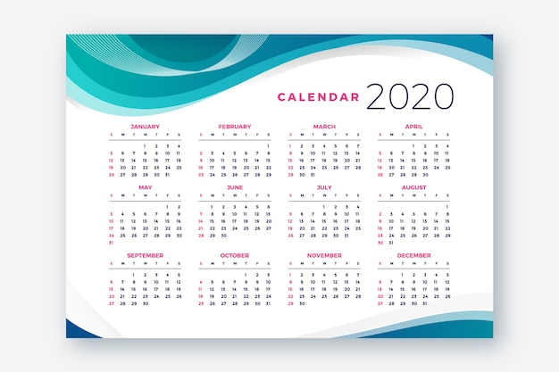 抽象的な2020カレンダーテンプレート 無料ベクター