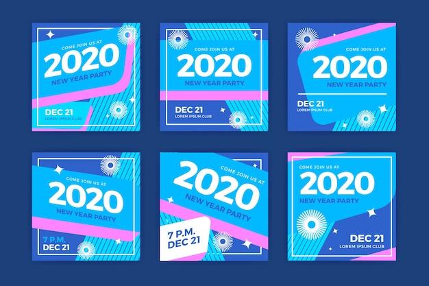 Коллекция постов в инстаграм новогоднем 2020 Бесплатные векторы