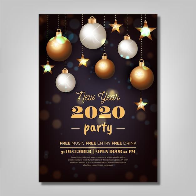 現実的な新年2020パーティーポスターテンプレート 無料ベクター