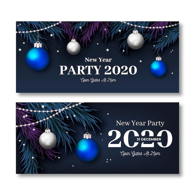 Реалистичные баннеры для новогодних праздников 2020 Бесплатные векторы