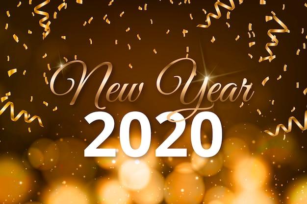 С новым годом 2020 надписи с реалистичными украшениями обоев Бесплатные векторы