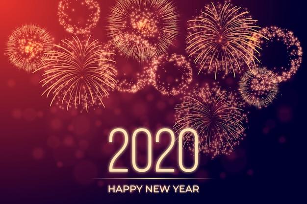 Фейерверк новый год 2020 Бесплатные векторы
