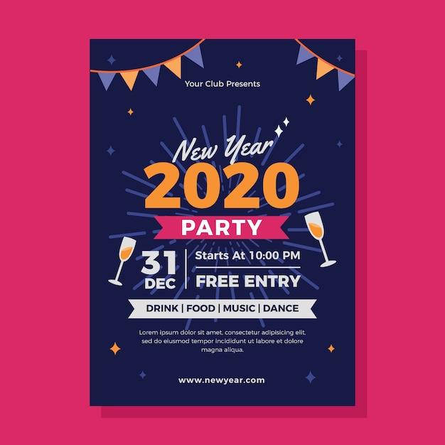 Новогодний шаблон вечеринки 2020 года в плоском дизайне Бесплатные векторы