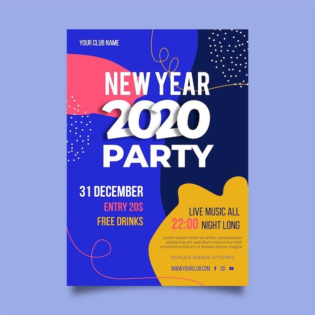 Шаблон плаката партии новый год 2020 Бесплатные векторы