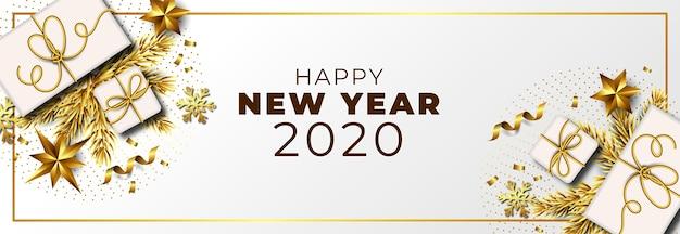 Новый год 2020 фон с реалистичной золотой отделкой Бесплатные векторы