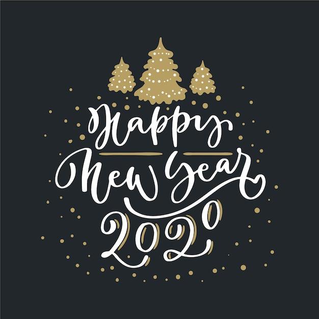 黒い背景に幸せな新年2020をレタリング 無料ベクター