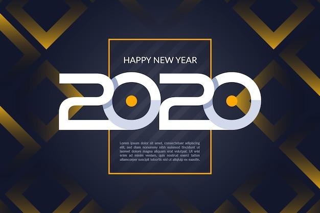 フラットデザイン新年2020年背景 無料ベクター